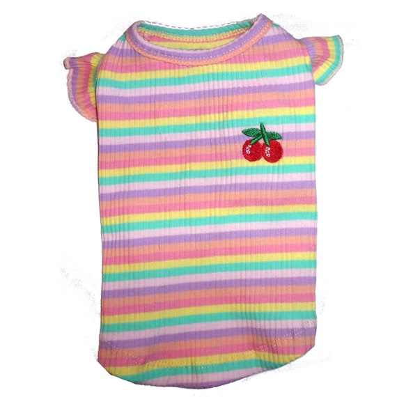 "Pink yellow cherry striped ruffled dog shirt dress size small 14""-16"" chest (A26)"