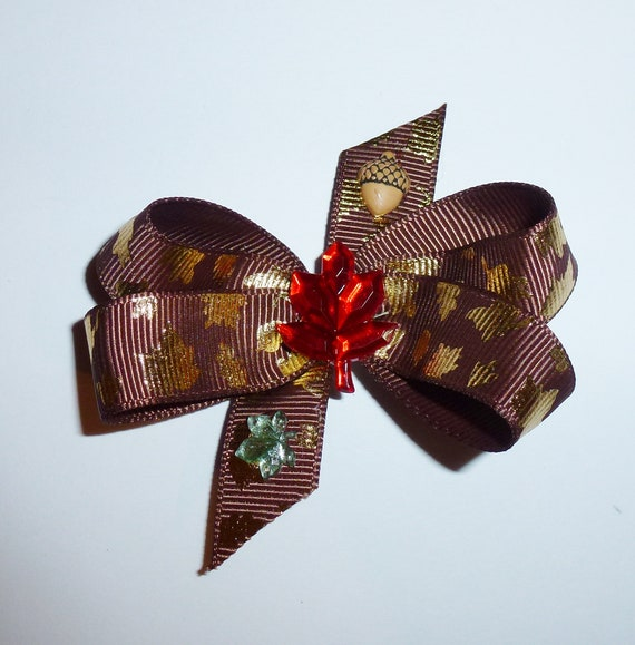 Puppy Dog Bows ~Fall Thanksgiving boutique pet hair bow barrettes or bands (fb1b)