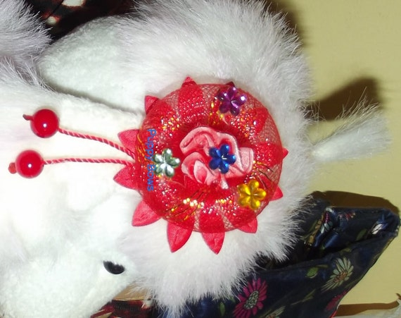 Puppy Bows ~ CLEARANCE SALE 50% OFF Blue or Red dog ear bows flowers round pet hair bow barrettes or bands  (fb37)