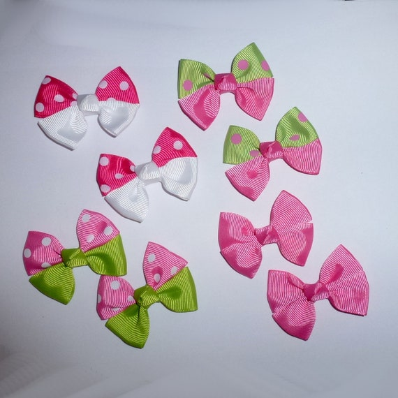 Puppy Bows ~ 8  everyday dog groomers pink grooming pet hair bows girl colors polka dots chevron stripes paw prints