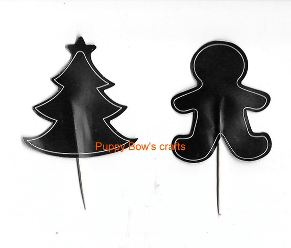 Puppy Bows ~ craft items 12  chalkboard cupcake picks Christmas trees