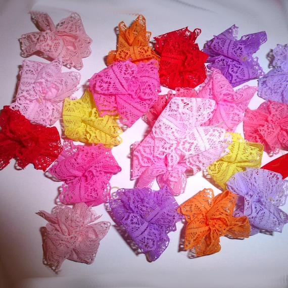 Puppy Bows ~ Lace Party puffs dog grooming bows -  FREE SHIPPING