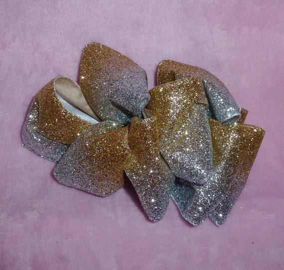 Becky Bows ~  Barrette ribbon Hand crafted over sized  BIG hair bow Women or Girls dressy gold silver glitter