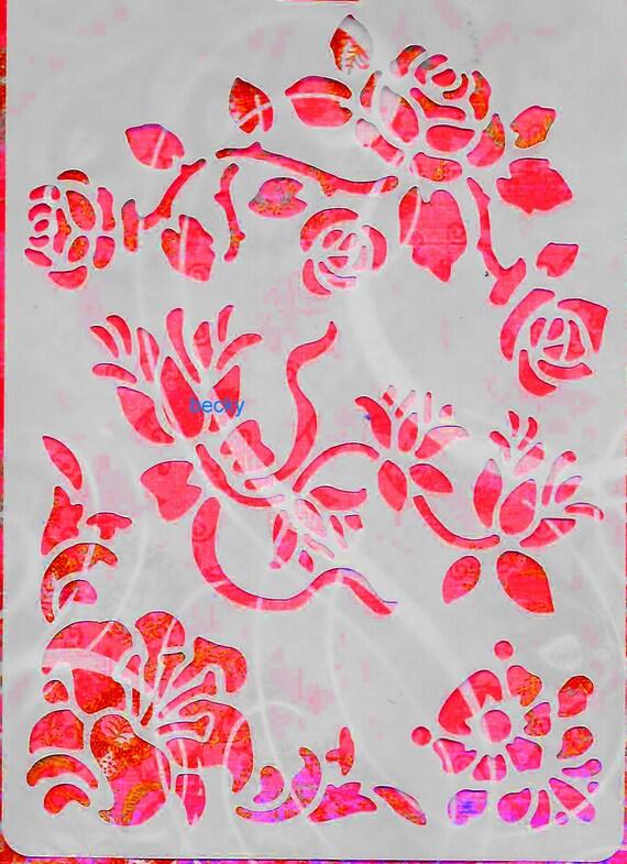 Craft stencil ROSES TULIPS FLOWERS trim scrapbook wall art home decor
