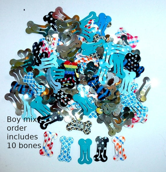 Puppy Bows ~ Barrette snap clip BOY MIX 10 dog bone shape bow pet hairclip ~Usa seller