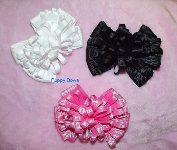 Becky Bows ~  CLOSEOUT SALE Hand crafted  BIG hair bow Women or Girls giant loopy loop pink black or white