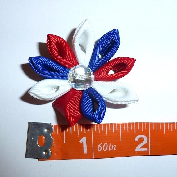 Puppy Bows ~  handmade red/white/blue Japanese Kanzashi flower dog hair bow  (fb63)