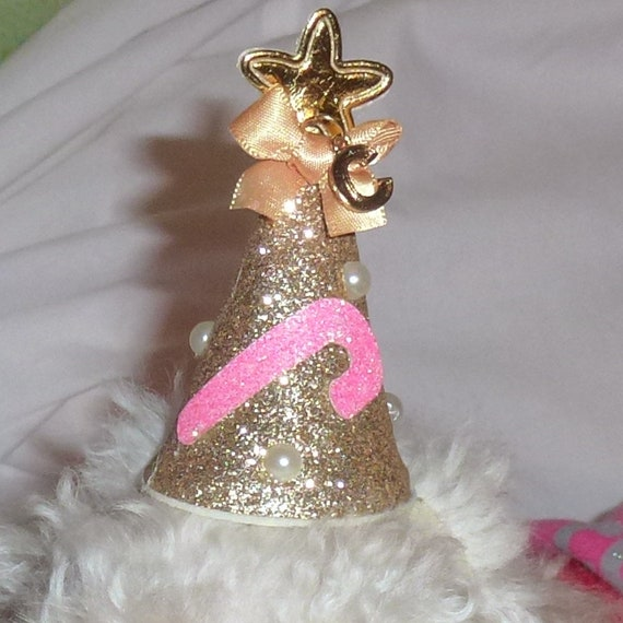 Puppy Bows ~Christmas glitter gold silver pink party hat pet hair bow for dogs NECK STRAP & clip ~USA seller (fb119)