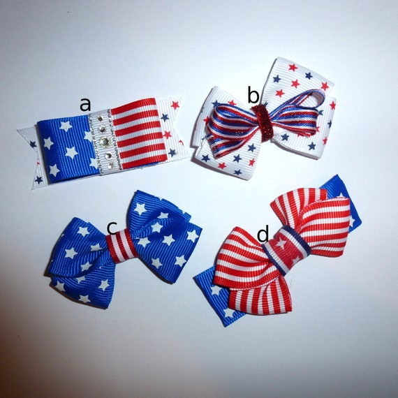 Puppy Bows ~Patriotic 4th of July red/white/blue  dog bow  pet hair clip barrette or latex bands (fb124)