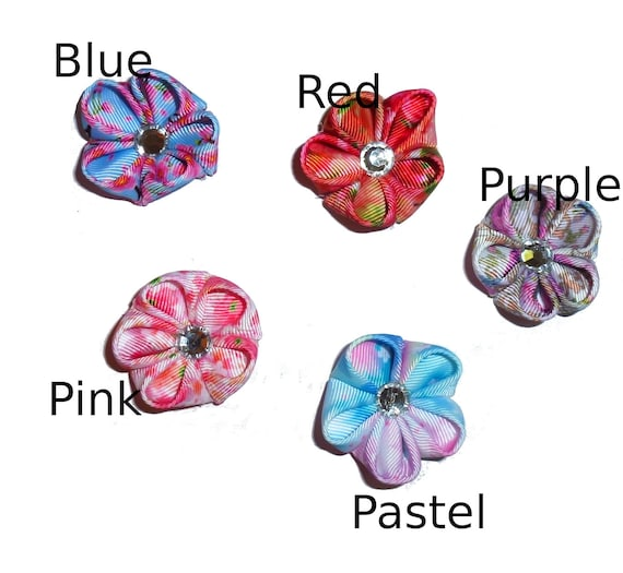 NEW! Japanese windflowers rhinestone center  pet hair bow barrettes or bands (fb307)