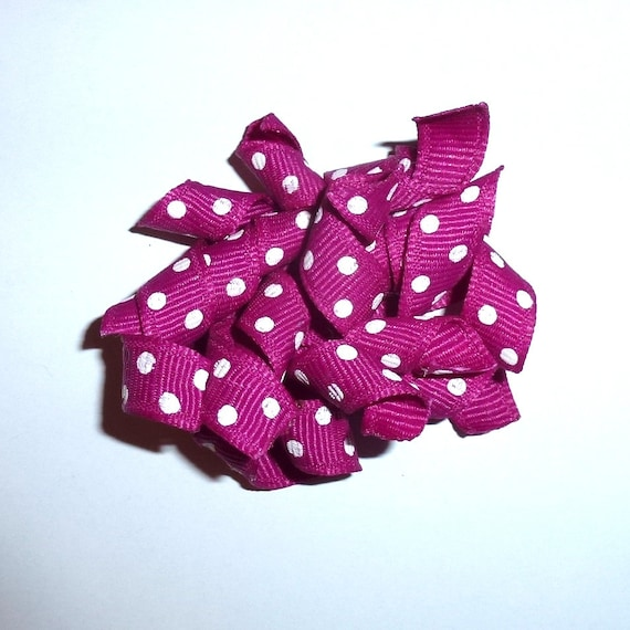 Puppy Bows purple dots Korker loop  dog bow  pet hair clip barrette or latex bands   (KB)