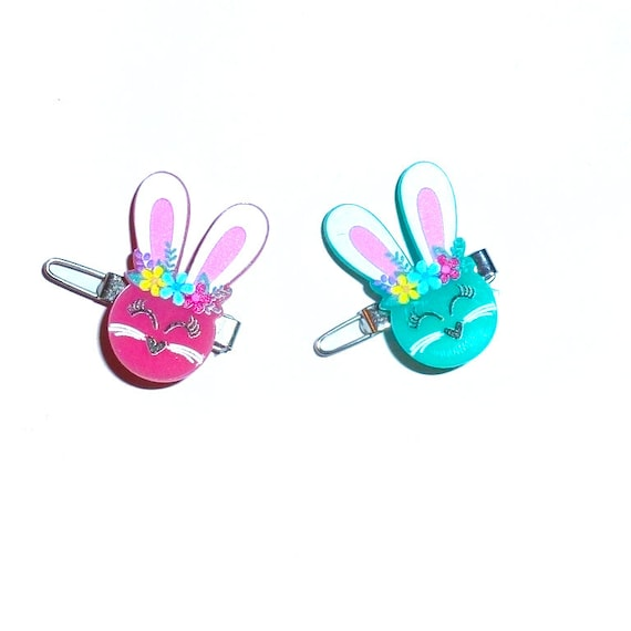 """Puppy Bows happy bunny head pink or blue 1"""" barrette bow clip or latex bands (fb280)"""