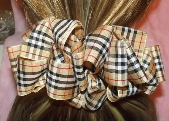 Becky Bows ~ Scottish berry inspired Barrette Hand crafted  BIG hair bow Women or Girls brown plaid