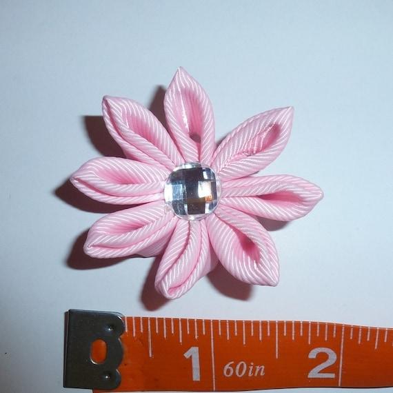 Puppy Bows ~  handmade pink Japanese Kanzashi flower dog hair bow  (fb63)