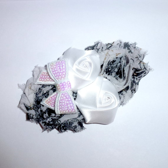 Puppy Bows ~ Dog collar slide bow large dog hair bows black white shabby chic lace and pearls ~USA seller (fb162)