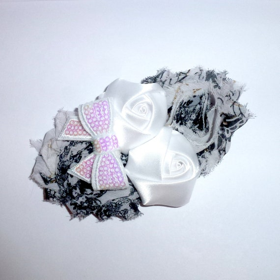 Puppy Bows ~ Dog collar slide bow large dog hair bows black white shabby chic lace and pearls ~USA seller (dc7)