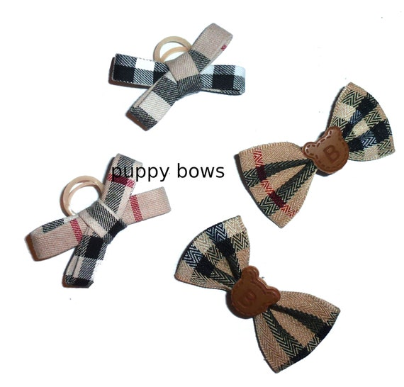 "Puppy Dog Bows ~ The PAWBERRY ""B"" bowknot or criss cross shape pet hair bow barrettes or bands (fb104a)"
