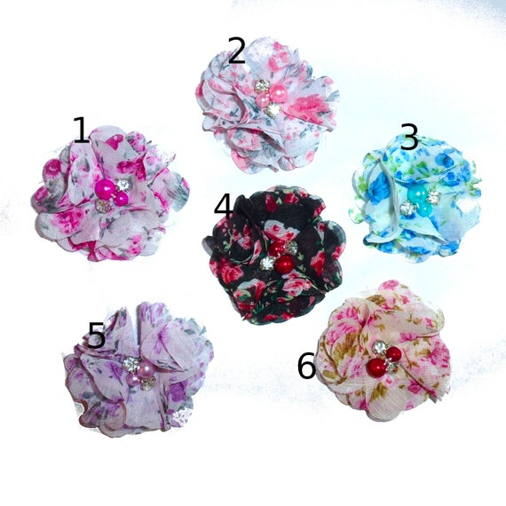 Puppy Dog Bows ~Chiffon lace rose flowers  pet hair bow barrettes or bands (fb246)