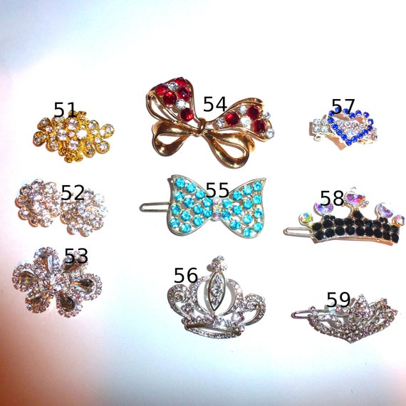 Puppy Bows ~ Rhinestone TIARA multi styles dog hair barrette clip CRYSTAL styles 51-59 ~USA seller
