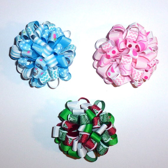 Puppy Bows ~  Fun multi loopy puff hair bows 36 COLOR choices  barrette or bands pet dog bow