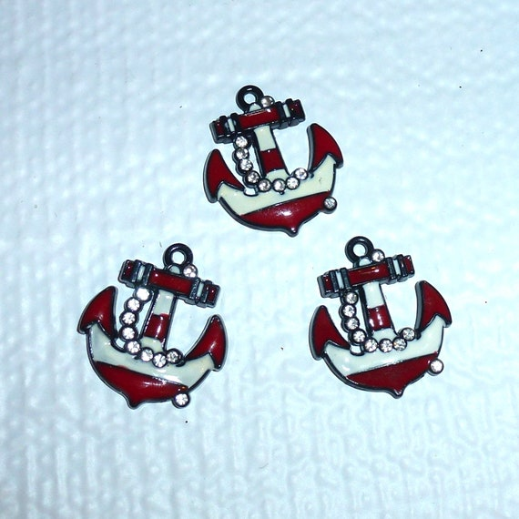 Puppy Bows craft items ~ set of 3 navy blue white red rhinestone anchor charms