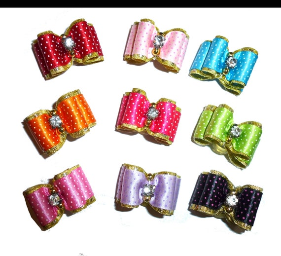 """Puppy Dog Bows ~ 7/8"""" satin ditzy dots over gold  pet hair show bow barrettes or bands (FB315)"""