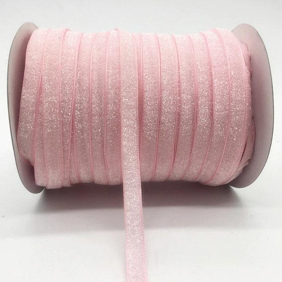 "Puppy Bows ~  craft supplies pink velvet glitter ribbon NON stretch 3/8"""