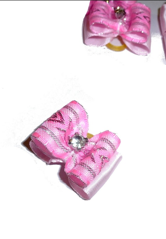 """Puppy Dog Bows ~ 7/8"""" pink silver organza overlay pet hair show bow barrettes or bands (FB304)"""