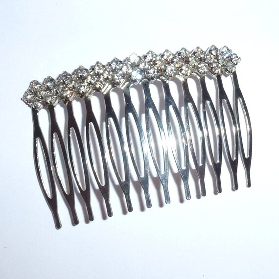 Becky Bows ~ Rhinestone silver hair comb wedding prom dances ladies or girls  ~USA seller