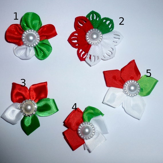 Puppy Dog Bows ~ Daisy  Christmas flower bow or collar slide red green petals 5 styles!