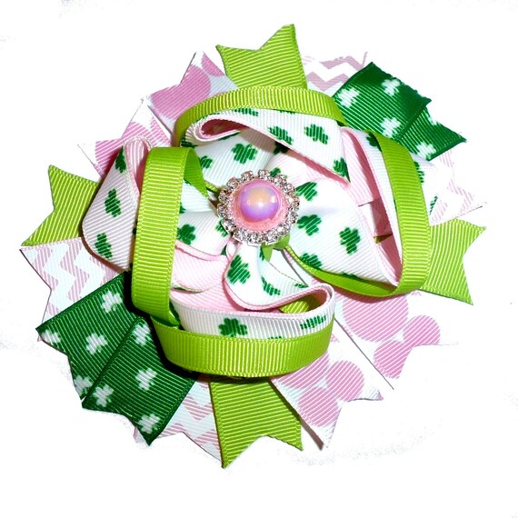 Puppy Bows ~ Pink green pearl St. Patrick's Day  dog bow  collar slide decoration  ~USA seller (DC3)