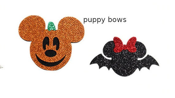 Puppy Dog Bows ~ SALE! Minnie Mouse Halloween bat red glitter bow  or Mickey Mouse orange pumpkin pet hair bow barrettes or bands (fb128)