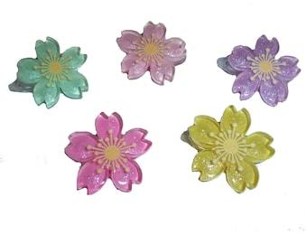 Puppy Bows ~  Japanese sakura flower barrette  clip pet hair bow (fb233)