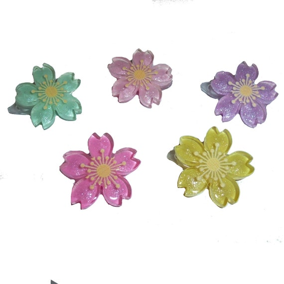 Puppy Bows ~  Japanese sakura flower barrette  clip pet hair bow (fb233)