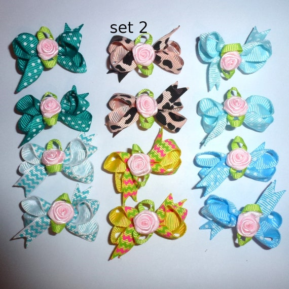 Puppy Bows ~ 12 twisted boutique rose dog bow for girls - pairs dog grooming pet hair bows - set 2