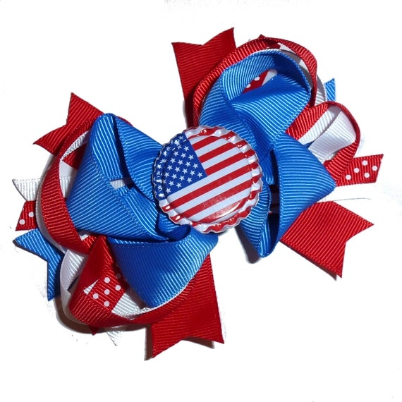 Puppy Bows ~ Memorial day 4th of July patriotic Independence day red white blue dog collar slide decoration   ~USA seller (DC4)