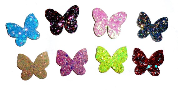 Puppy Dog Bows ~ Glitter butterfly small 10 color choices! pet hair bow barrettes or bands (fb249)