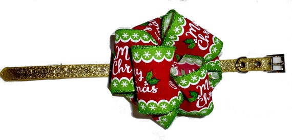 Puppy Bows ~ Merry Christmas giant dog collar slide bow party puff flower ~USA seller