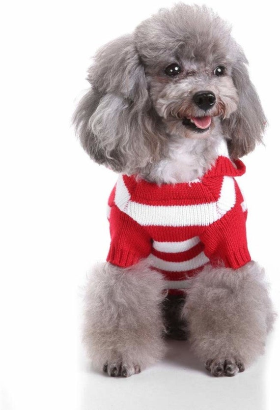 Puppy Dog Bows ~ pet red white striped Christmas dog sweater size Large turtleneck (K13)