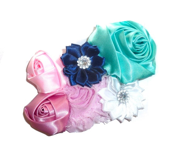 Puppy Bows ~ Dog collar slide bow large dog hair bows pink blue rolled roses flower ~USA seller (P24)