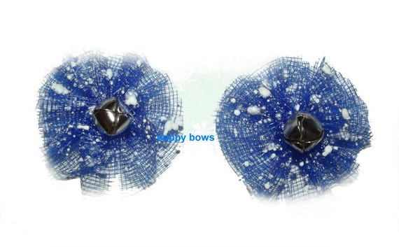 Puppy Bows ~ PAIR January snow bow JINGLE BELLS  pet hair bow bands or barrette (fb70)