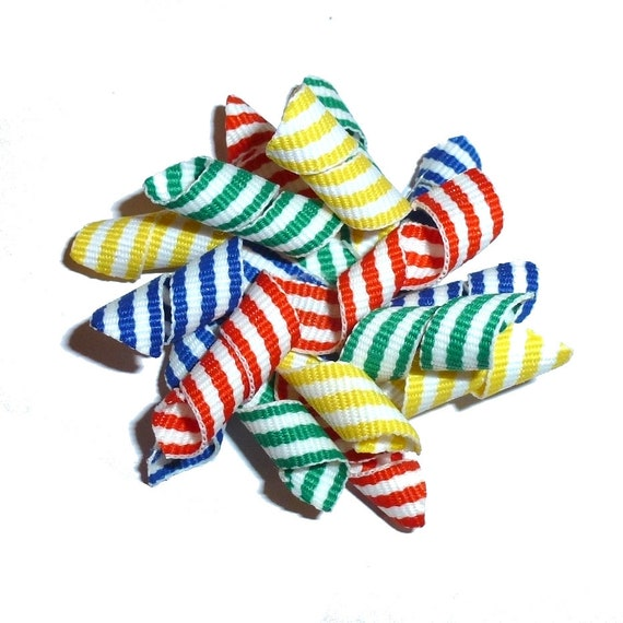 Puppy Bows multi color stripes Korker loop  dog bow  pet hair clip barrette or latex bands   (fb120)