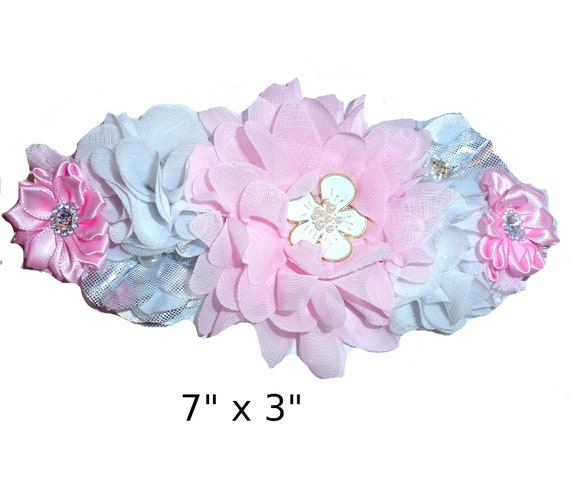 Puppy Bows ~ Extra long dog collar slide  accessory pink white silver flowers pearls  ~USA seller (P4)