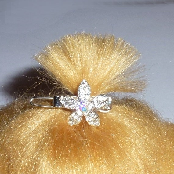 "Puppy Bows ~ TINY 3/4"" rhinestone crystal flower dog bow  pet hair clip topknot barrette"