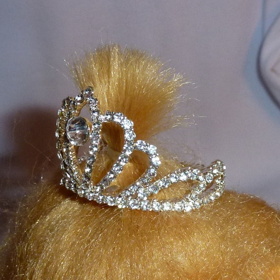 Puppy Bows ~ STUNNING 3D silver full round tiara for dogs pet hair crown beauty pageant style barrette (center stone)