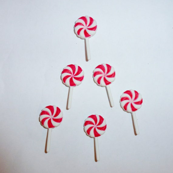 craft supplies 6 peppermint Christmas candy lollipops buttons