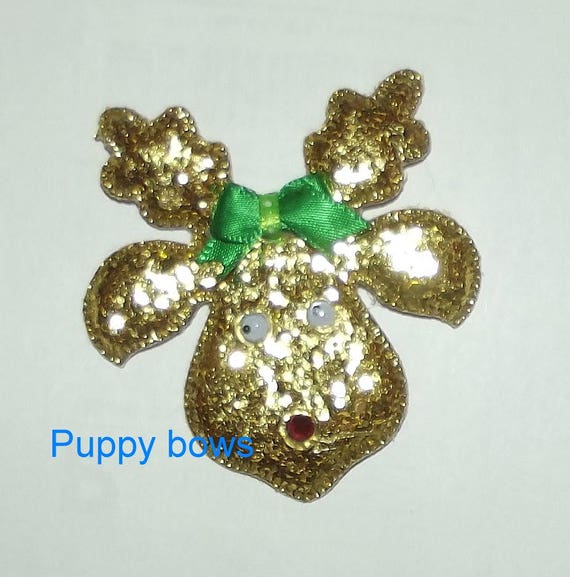 Puppy dog Bows ~ Christmas RUDOLPH glitter reindeer  pet hair bow (fb64)