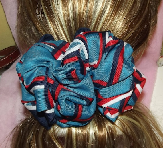Becky Bows ~OOAK ROSETTE Barrette Hand crafted giant huge Scarf BIG hair bow Women or Girls red white blue squares
