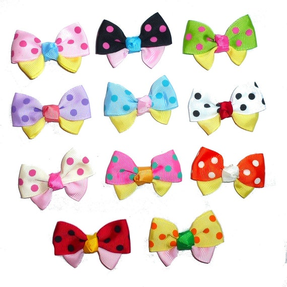 Puppy Bows ~ 11 dog bow for girls - polka dot dog grooming pet hair bows - (fb226)