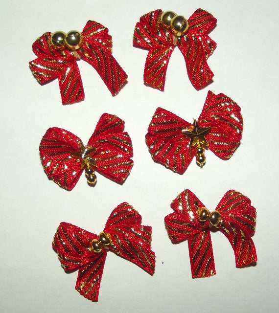 Puppy Bows ~6 red gold stripes EVERYDAY BOWS Yorkie Maltese Shih Tzu ~Usa seller (fb81)